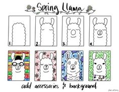 Spring Llama Step by Step Drawing Guide Spring Llama Step by Step Drawing Guide by Mrs Artstrong Kindergarten Art, Preschool Art, Drawing For Kids, Art For Kids, Llama Drawing, Arte Elemental, Spring Drawing, Directed Drawing, 2nd Grade Art