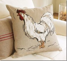 hand painted rooster pillow - I can do something like this!