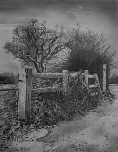 Beautiful Landscape Drawings for Inspiration - Landschaftsbau Landscape Pencil Drawings, Landscape Sketch, Landscape Art, Landscape Design, Beautiful Pencil Drawings, Graphite Art, Graphite Drawings, Drawing Sketches, Art Drawings