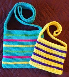 Mom N Me Crossbody Bag- Free Pattern Crochet On The * mom n me crossbody bag - kostenlose muster häkeln auf der * sac bandoulière mom n me - crochet à motif gratuit sur le Purse Patterns Free, Crochet Purse Patterns, Bag Pattern Free, Bag Patterns To Sew, Sewing Patterns, Crochet Ideas, Stitch Patterns, Knitting Patterns, Crochet Market Bag