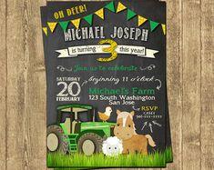 Tractor Invitation John Deere Inspired by MonsterInvitations