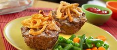 Mini Meatloaves Recipe - You won't be able to resist these mini meatloaves baked in muffin-pan cups. Ground beef, cream of mushroom soup, French fried onions and Worcestershire combine for a super-flavorful meatloaf mixture. They're kid-friendly, easy to New Recipes, Soup Recipes, Dinner Recipes, Cooking Recipes, Favorite Recipes, Sausage Recipes, Easy Recipes, Recipies, Mini Meatloaf Recipes