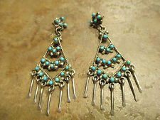 ESTATE Vintage ZUNI Sterling Silver SNAKE EYE Turquoise CHANDELIER Earrings