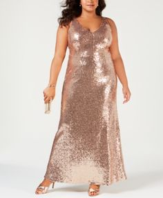 Nightway Plus Size Sequined Evening Gown - Tan/Beige 16W