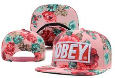 Obey Floral Snapback Hats Pink 8134