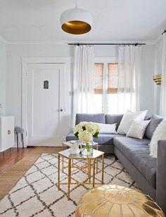 gray sofa #living #room #gold #white
