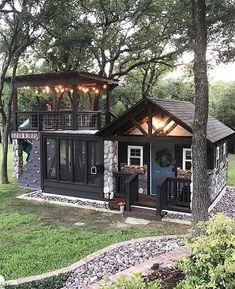 new modern dream house exterior design ideas Best Tiny House, Tiny House Cabin, Tiny House Living, Cabin Homes, Backyard Studio, Backyard Retreat, Backyard Playground, Backyard Kids, Backyard House