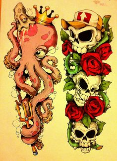 @brittney730 More tattoo flash shazbats. by CHEO., via Flickr