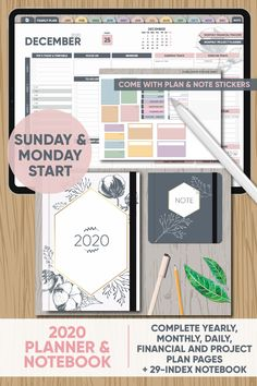 2020 Planner & Notebook - Yearly, Monthly, Weekly and Daily Spreads and Note Section - for GoodNotes, Notability, Xodo and other PDF apps Study Planner, Project Planner, Planner Pages, Planner Stickers, Planner Journal, Budget Planner, Happy Planner, Landscape Planner, Planner Template