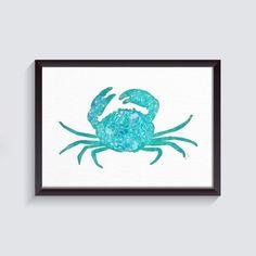 Crab Print Crab Watercolor Painting Crab Art Crab | Etsy