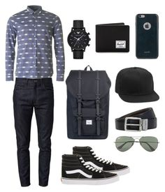 """""""Untitled #18"""" by jamslzr on Polyvore featuring Lacoste, Gucci, Vans, Emporio Armani, Herschel Supply Co., Moshi, Topman, BOSS Hugo Boss, Ray-Ban and mens"""