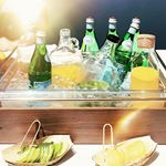 Getting ready for summer entertaining I snapped this chic little set up for serving drinks at an event a few weeks ago Love how the brights pop next to the bamboo pieces Looks fresh  summerentertaining drinks hosting selfservebar perrier mimosa greenjuicemimosa amareesnewport