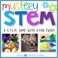 Mystery STEM is a simple game to add to your STEM classroom fun! Students turn cards over to reveal their building challenge and materials! Stem Science, Science Experiments Kids, Summer Science, Weird Science, Life Science, Steam Activities, Science Activities, Library Activities, Stem Challenges