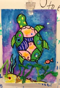 pattern, shape, texture, collage, Wyland, oil pastel, water color, wash, movement, value, color schemes, ... sea turtle