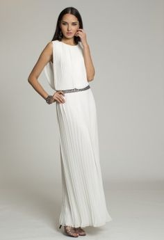 Dresses - Ivory Pleated Chiffon Dress from Camille La Vie and Group USA