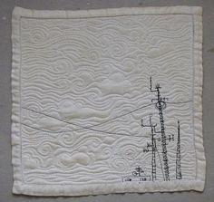 """Broadcast, Paula Kovarik, 2015 -  a recycled napkin measuring 11"""" square. I love clouds. And things sticking up from roofs."""