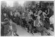 vintage photo: SingSing prisoners, knitting. Maybe I'd enjoy a little prison time-hhhmmmmm.