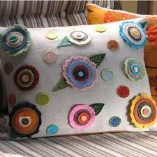 Handmade Spark - Georgianne Holland, Folk Art - Decorative Penny Rug Pillow: Handmade Wool Felt Flowers on Denim Cute Pillows, Wool Pillows, Throw Pillows, Cushions, Felt Cushion, Felt Pillow, Applique Pillows, Felt Applique, Pillow Embroidery