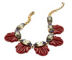 Fanned Leaf Necklace | J. Crew; I like that the leaves look like scarabs.