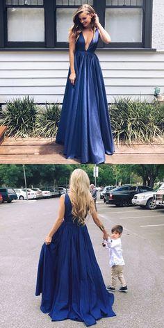 deep v neck long navy blue prom dress evening dress, sexy long navy evening dress