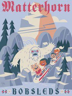 wanderlust dibujos Matterhorn Bobsleds by Ben Burch Arte Disney, Disney Theme, Disney Love, Disney Magic, Punk Disney, Disney Disney, Disneyland World, Vintage Disneyland, Disneyland Rides