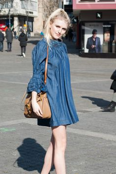 DENIM GIRL   #ampersandheart #dress #dotd #chloé #bag #womenswear #bungalowgallery