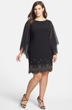 Embellished Hem Chiffon Dress (Plus Size)
