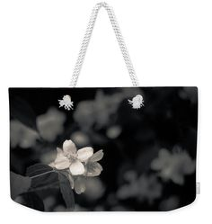 """Jasmine Flowers Weekender Tote Bag (24"""" x 16"""").  The tote bag is machine washable and includes cotton rope handle for easy carrying on your shoulder.  All totes are available for worldwide shipping and include a money-back guarantee. carry-all, pouch, studio, photo, photography, artwork, buy, bag, tote, drawstring, blossom, blossoms, bloom, blooming,  flower, flowers, tender, love, garden, spring, springtime, white, black, branch, summer, jasmine, fashion"""