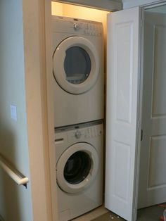 washer dryer cabinet | How to Build a Cabinet Around a Stacked ...