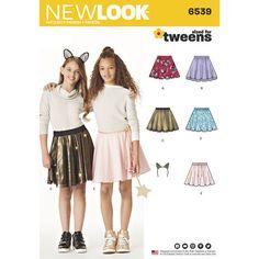 31da67aaa8 New Look Pattern 6539 Tween Skirts with Ears Headband New Look Patterns,  Simplicity Patterns,
