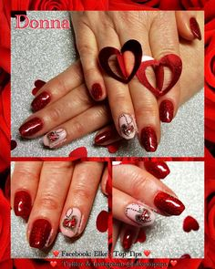 Beautiful Valentine gel art heart pendants. All gel polish and art gel. Nails by Elke's Top Tips