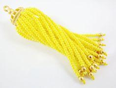 Long Yellow Beaded Tassel  22k Matte Gold Plated by LylaSupplies, $10.00