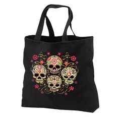 Gothic Sugar Skulls Large Black Tote Bag