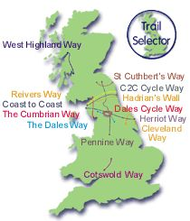 Tracks across England. Sherpa can pick up bags and take to your accommodation each day.