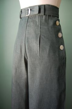 1930s 1940s  vintage style   green denim pants   with  vintage belt  CUSTOM MADE  for your size. $118.00, via Etsy.