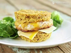 This recipe is a grain-free, healthier alternative to the popular egg McMuffin. It's vegetarian but you can add a few slices . Low Carb Bread, Low Carb Keto, Low Carb Recipes, Real Food Recipes, Cooking Recipes, Donut Recipes, Vegetarian Ketogenic Diet, Vegetarian Recipes, Paleo
