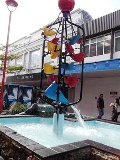 Wellington's iconic bucket fountain in Cuba Sttreet Long White Cloud, Small Towns, Cuba, New Zealand, Fountain, Bucket, Island, Spaces, Explore
