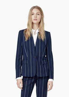 Striped blazer - Pants for Women | MANGO