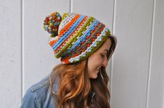 Chunky Wool Textured Slouchy Hat with PomPom by theComfyTimes