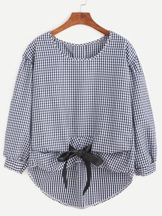 Checkered Bow Tie High Low Blouse — 0.00 € ----------------------color: Navy size: one-size