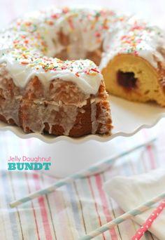 Jelly Doughnut Bundt Cake -- a bundt cake that tastes like a giant glazed jelly doughnut!