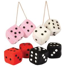 """Fuzzy dice remain to be one of our most requested items! Measure nearly 3"""" Cube. You can decorate with them, hang them from your rear view mirror like we did in the 1950s. Or, great gift for a 50s collector or the owner of a 50s or 60s automobile. 50s theme party decoration, cool table decoration, great party prizes, or just as an inexpensive give-away. 50th anniversary, 50th birthday, sock hop, teen party retro party, and on and on."""
