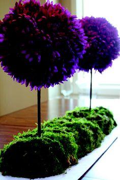 Amazing idea! Bright purple with moss.