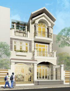 Dòng kiến trúc cổ điển đưa vào thiết kế biệt thự phố mang lại cho công trình vẻ đẹp ấn tượng.