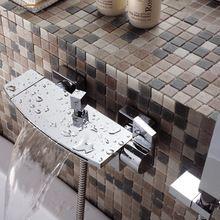 Neue Design Kostenloser Versand Luxury Messing Chrome Dual Halter Wasserfall Badewanne Wasserhahn Wand Bad Dusche Mixer Set 2459(China (Mainland))