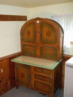 sellers oak hoosier kitchen cabinet with orange | 1930 Vintage Hoosier Cabinet **Excellent Condition** Completed