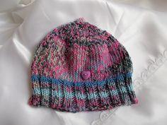 bonnet bébé 0/3 mois en coton doux chiné multicolore avec un coeur violet , sans coutures : Mode Bébé par bebelaine