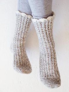 How to Crochet Socks: Top Tips & Patterns Ready to try your hand a crocheting a pair of cozy socks? We asked Kathryn Senior to share her top tips for sock success. Crochet Socks Pattern, Crochet Boot Cuffs, Crochet Boots, Crochet Slippers, Love Crochet, Crochet Scarves, Knitting Socks, Easy Crochet, Knitting Patterns