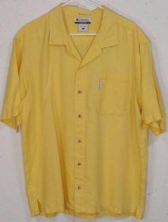 Columbia Mens Yellow 55%Ramie 45%Cotton Short Sleeve Button Down Pocket Shirt XL #Columbia #ButtonFront