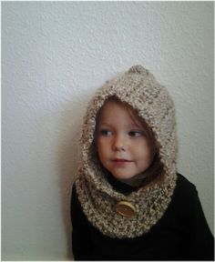 Hooded Kids Cowl. Crochet Cowl. Crocheted Neck Warmer with Hood. Toddler Baby Child Scarf.. $38.00, via Etsy.
